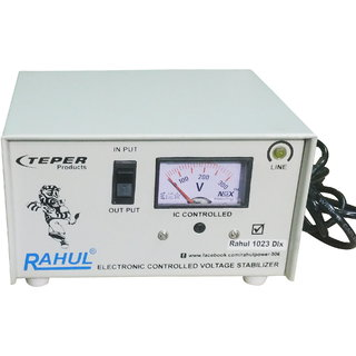 Rahul 1023 DLX a 700 VA/2.5 AMP 140 Volt 3 Step 1 Washing Machine/Refrigerator 90 Ltr to 220 Ltr Auto Matic Stabilizer