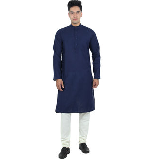 ABH Lifestyle Men's Cotton Blend Kurta Pyjama (Navy Blue)