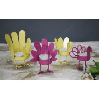 Color Palatte Yellow and Pink Bird T Light Holders