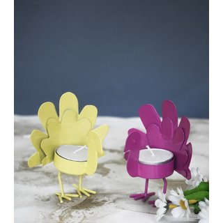 Color Palatte Yellow and Pink Wing Bird T Light Holders
