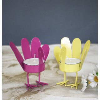 Color Palatte Yellow and Pink Wing Bird T Light Holders - Small