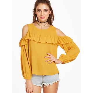7dd51571af96a Buy Raabta mustered Yellow Cold Shoulder Ruffled Top Online - Get 77 ...