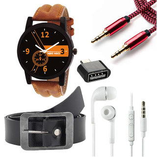 Wake Wood Black Dial Watch For Men with Free Belt + Ear Phone + Aux Cable + OTG