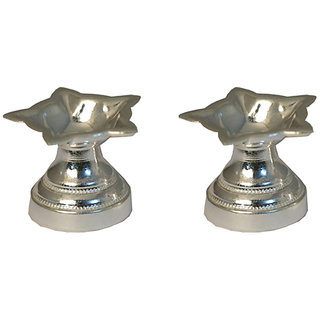 Silverz Silver Diya - Panch Sided  Diya For Puja (pack of 2)