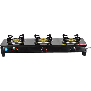 GLEE 3 Burner Nano Glass Manual Gas Stove black finish (3 Burners)