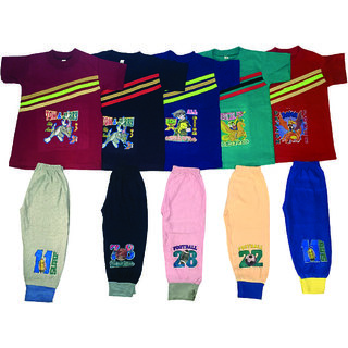 OS Multicolor Cotton T-Shirt  Pant Pack of 5