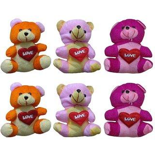 Atorakushon Pack of 6 Cute Heart Love with Teddy Bear Soft Toy Kid Children for love Valentine Birthday Gift