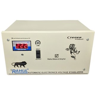 Rahul Base-2 a2 Digital 2.5 KVA/10 AMP 140-280 Volt 3 Step Submersible Water Pump/ 2Computers Set/Deep Fridge Stabilizer