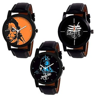 Katrodiya Round Dail Gold And Multi And Silver Leather And Metal StrapMens Quartz Watch For Men