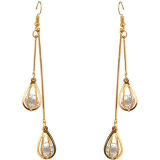 Golden Earrinng With White Crystal Stone by Sparkling Jewellery