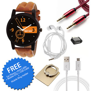 Wake Wood Black Round Dial Watch For Men With Free Ear Phone + AUX Cable + Mobile OTG+USB Cable+Mobile Ring Holder