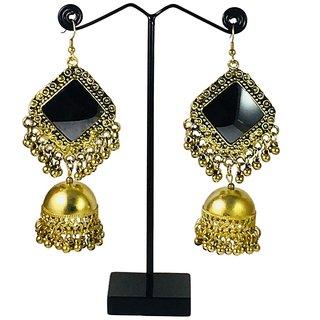 Palansh Oxidised plated  Mirror studded Golden Dangle Drop Earrings (11 cm long) For Women  Girls (pal88)
