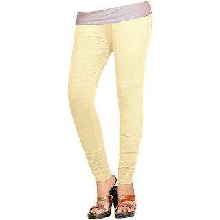Naisargee Women's and Girl's Cream Cotton Chudidar Length Leggings (Free Size)