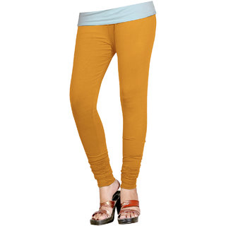 Naisargee Women's and Girl's Musturd Cotton Chudidar Length Leggings (Free Size)
