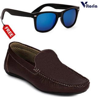 Vitoria Stylish Loafer Shoes With Free Fashionable Unisex Sunglasses Combo