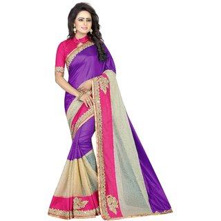 Om Creation Women's Purple Silk and Lycra Designer Saree