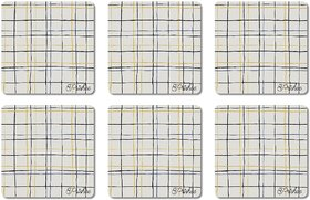 Prishee Checkered Coasters Multi Colored 3.5 Inch X 3.5 Inch Square Shaped Set of 6 - Best for Gifting