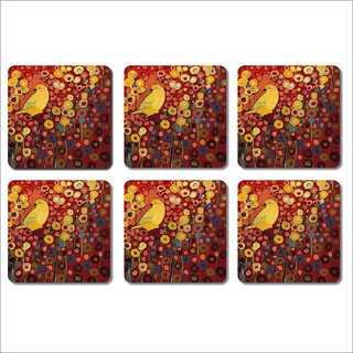 Prishee Graphic Coasters Multi Colored 3.5 Inch X 3.5 Inch Square Shaped Set of 6 - Best for Gifting