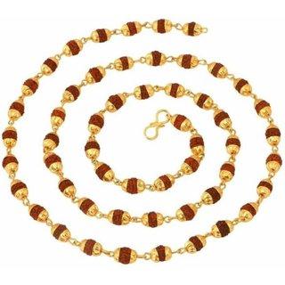 Purple Stone Rudraksha Mala 23K Yellow Gold Plated Wood Chain