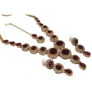 Maroon Stone Round Necklace  Set