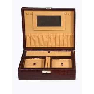 ZINT PURE LEATHER BROWN MULTI-COMPARTMENT JEWELRY BOX KEY LOCK TRINKET CASE RINGS PENDANTS TRAVEL ORGANIZER