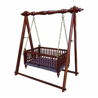 Shilpi Wooden Handmade Pure Sheesham Wood Cradle / Wooden Baby Product By Shilpi Handicraft