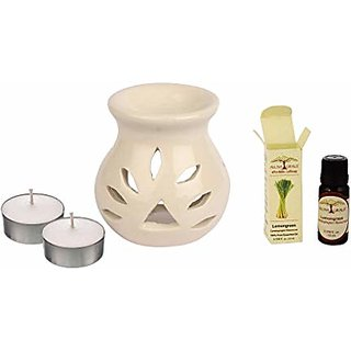 Ceramic Aroma Oil Diffuser Gift Set With 2 Tealights  Oil