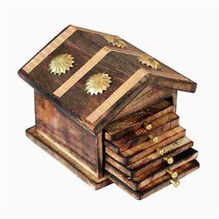 Desi Karigar Wooden  Brass Antique Hut Shape Coaster Set Home Decor Gift Item