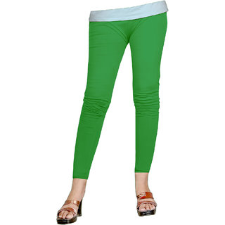 Naisargee Women's and Girl's Green  Silk Ankle Length Leggings -(XL Size)