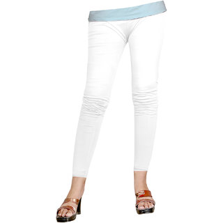 Naisargee Women's and Girl's White Silk Ankle Length Leggings -(XL Size)