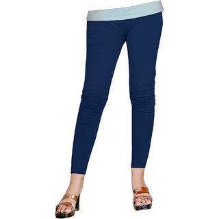 Naisargee Women's and Girl's Navy Blue Silk Ankle Length Leggings -(XL Size)