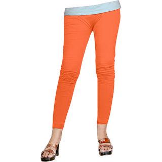 Naisargee Women's and Girl's Orange Silk Ankle Length Leggings -(XL Size)