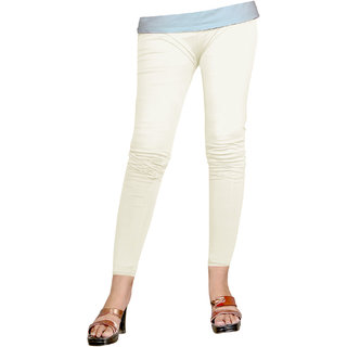 Naisargee Women's and Girl's Off White Silk Ankle Length Leggings -(XL Size)