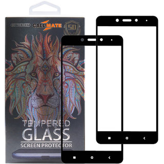 Callmate Tempered Glass Screen Protector 9H 5D for  Redmi Note 4  (Pack -2)- Black
