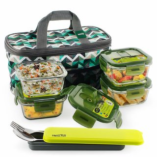 Home Puff Borosilicate Glass Lunch Box -Microwavable, AirVent Lid, Premium Carry Bag (Square 320 ML, Set of 4)