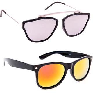 Derry Combo Of Silver And Orange Mirrored Wayfarer Sunglasses