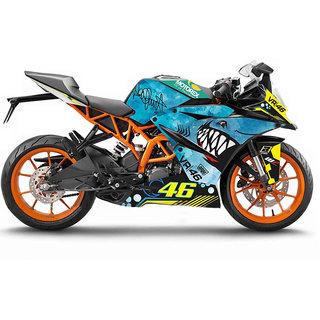 CR Decals KTM Rc 125/200/390 Bike Fullbody Bikecustom Decals/ Wrap/ Stickers Vr46 3D Shark Edition Kit