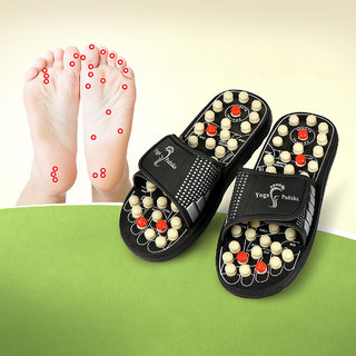 Acupressure  Magnetic Blood Circulation Relief -Spring Relaxer Natural Leg Foot Massager Slippers Massager (Multicolor)