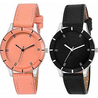 Swadesi Stuff Multi Color Luxury Leather Watch for Girls  Women (cutglass pink black)