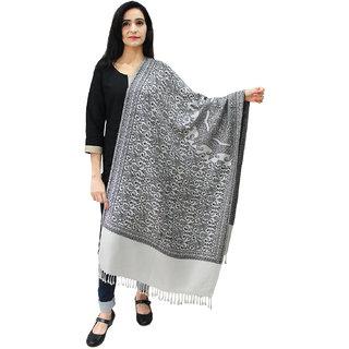 Matelco Women's White Printed Acrylic Wool Stole