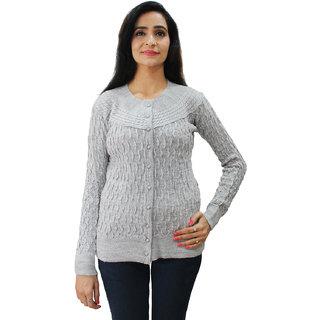 Matelco Women's Grey Woollen Full Sleeves Self Designing Short Cardigan M