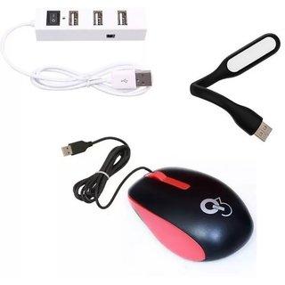 Q3 High Speed Ergonomic Design Q8N Wired Mouse With Mini Flexible USB LED Light Lamp Mini 4 POrt HUb With Single Switch 2EB15 Combo Set