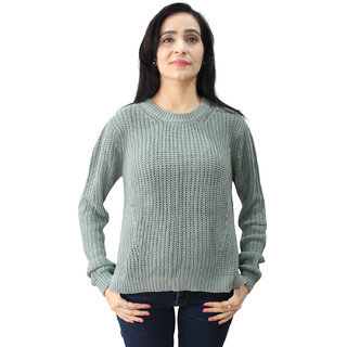 Matelco Women's Green Cotton Blend Knitted Pullover S