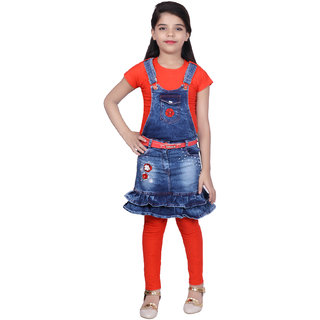 Kbkidswear Girl'S Cotton Top And Denim Skirt With Legging Set
