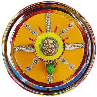 Stainless Steel Handicrafted Pooja Thali For Karwachauth/Navratri/Diwali Pooja