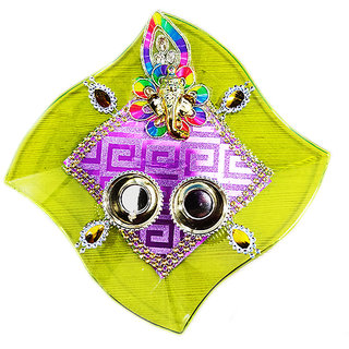 Stylish Square Ganesh Thali For All Pooja Occasion, Multicolor