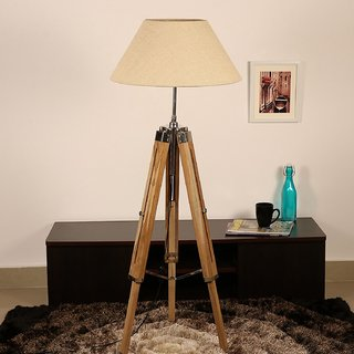 wooden Tripod Floor Lamp home decor Teak Wood Solid Lamp