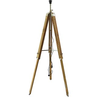 zaidi decorative wooden Tripod Floor Lamp home decor Teak Wood Solid Lamp