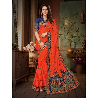 529bea44755aa6 Buy Manohari Orange Art Silk Embroidery Saree with Blouse Online - Get 75%  Off