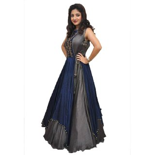 Aika Women's  Banglory Silk Embroidery Semi Stitched Anarkali Gown(G029-Poonam Grey)